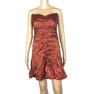 BCBG Maxazria rust ruffle hem strapless dress